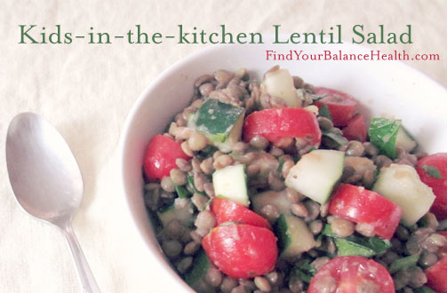Kid friendly lentil detox salad