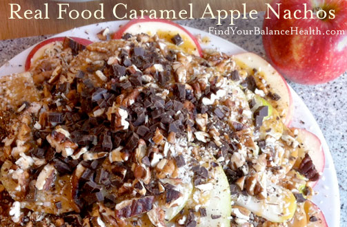 Caramel Apple Nachos, a healthy real food snack