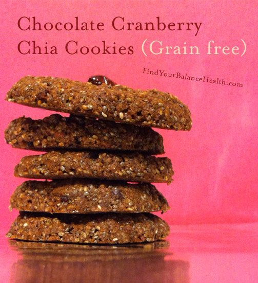Chocolate Cranberry Chia Cookies