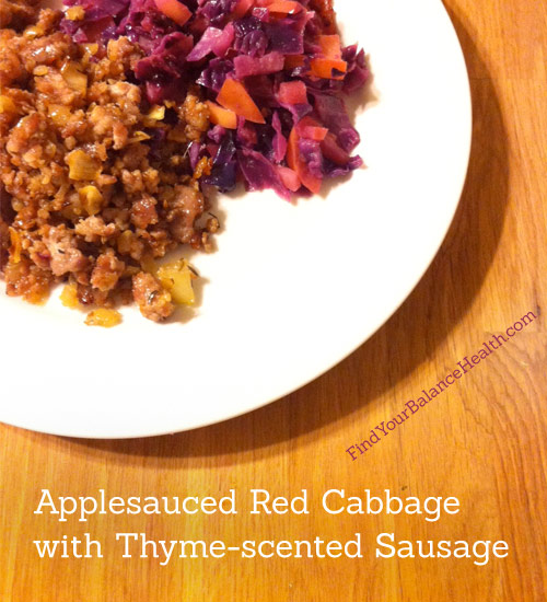 Applesauced Red Cabbage with Sausage