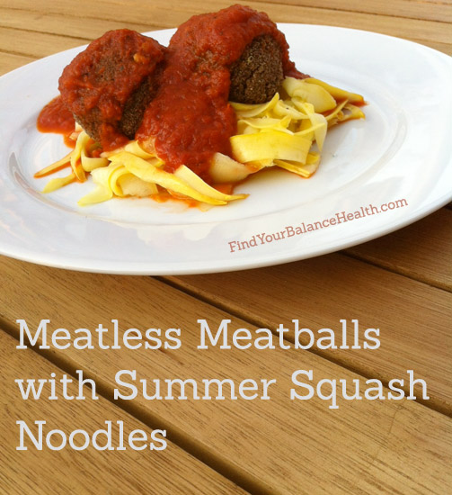 Meatless meatballs with summer squash noodles