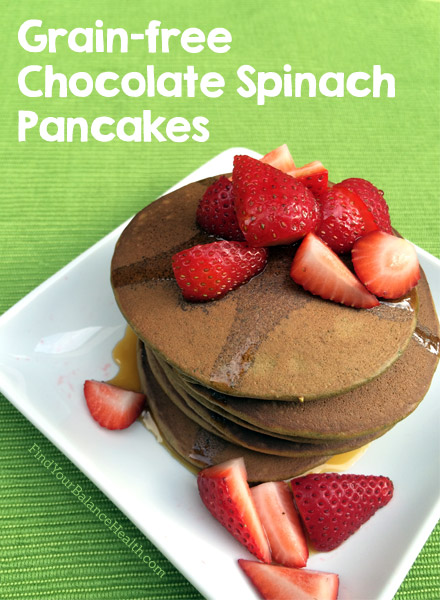 Chocolate Spinach Paleo Pancakes