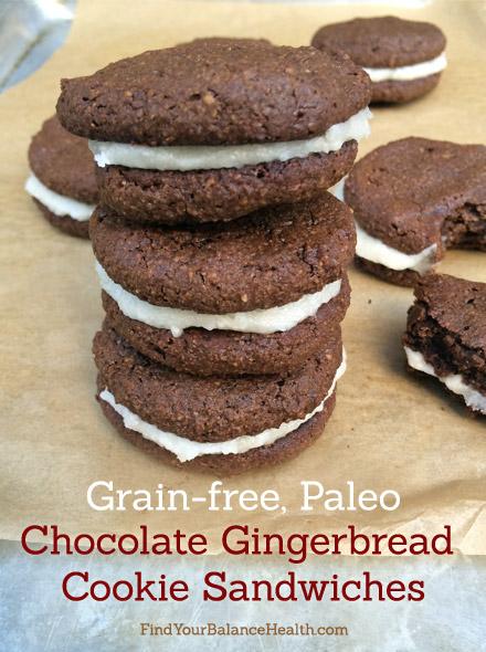 Chocolate Gingerbread Cookie Sandwiches - paleo, grain-free, gluten ...
