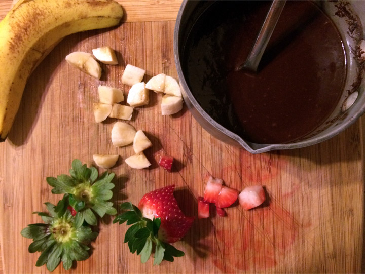 Ingredients for Valentine's Day Red Velvet Pancakes & Chocolate Sauce