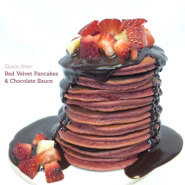 Grain-free Valentine's Day Red Velvet Pancakes & Chocolate Sauce