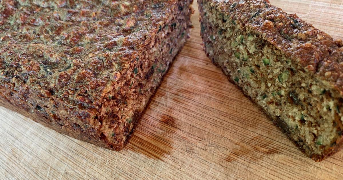 Healthy, paleo zucchini bread.